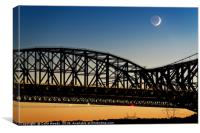 A new moon with earthshine with the Pont du Quebec, Canvas Print