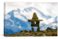 Inukshuk in the Canadian Rockies, Canvas Print