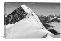 Climbers high in the Swiss Alps, on the traverse o, Canvas Print