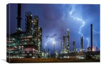 Lightning Bolts striking over Oil Refinery, Canvas Print