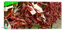Red paprika garlands from Tihany, Hungary, Canvas Print