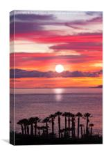 Sunset and silhouettes of the coast of Tenerife, Canvas Print
