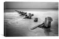 Groynes at Barmouth in Mono, Canvas Print