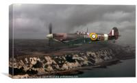 Spitfire over the White Cliffs, Canvas Print