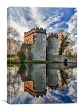 Whittington Castle in Shropshire reflecting , Canvas Print