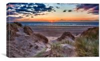 Sunset over Formby Beach through dunes, Canvas Print