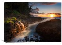 Waterfall near Queens Bath in Princeville Kauai, Canvas Print