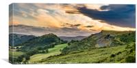 Clearing clouds at sunset over Llangollen panorama, Canvas Print