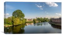 View over the River Severn from English Bridge in , Canvas Print