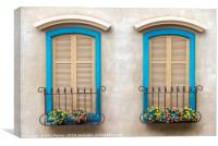 Two quaint windows, with bright blue frames, Canvas Print