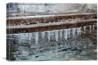 Icicles formed above a traditional water tank, Canvas Print