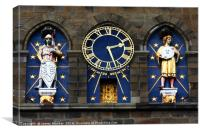 Cardiff Castle Clock Mars and Sun Statues, Canvas Print