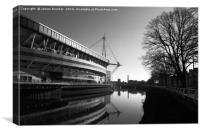 Millennium Stadium And River Taff Cardiff, Canvas Print