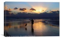 Walking the Dog at Sunset on Dunraven Bay Beach, Canvas Print