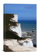 Chalk Headlands on the south coast Sussex , Canvas Print