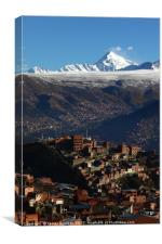 Vertical View of La Paz and Huayna Potosi Bolivia, Canvas Print