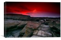 Red sky over Nash Point, Canvas Print