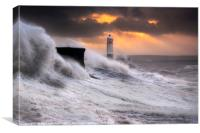 Storm Brian at Sunrise, Porthcawl , Canvas Print