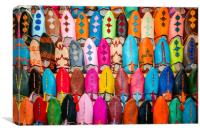 Colourful Moroccan Slippers, Canvas Print