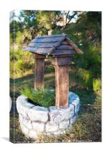 Decorative stone well in the park, Canvas Print