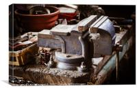 Vintage vise on the wooden table, Canvas Print