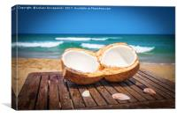 Coconut on the table against beautiful beach, Canvas Print