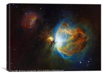 Deep space objects Orion (M42) and Running Man Neb, Canvas Print