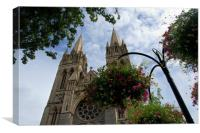 Flowers and cathedral, Truro, Canvas Print