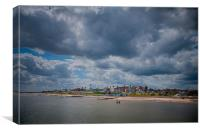 Southwold beach and lighthouse., Canvas Print