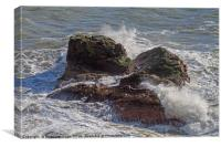 A Heavy Sea smashes the exposed rocks, Canvas Print