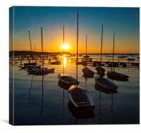 Serene sunset over boats at Sandbanks, Poole, Dorset near Bourne, Canvas Print
