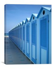 Blue Beach Huts in Italy, Canvas Print