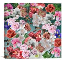 Floral pattern on blue ice grunge background, Canvas Print