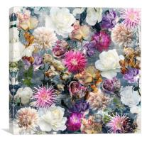 Floral pattern on gray grunge background, Canvas Print