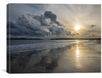 Sunset on the South Beach, Tenby., Canvas Print