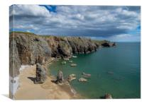 Flimston Bay, Stack Rocks, Pembrokeshire., Canvas Print