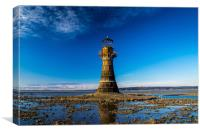 Whiteford Lighthouse at Whiteford Sands., Canvas Print