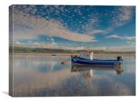 Reflections on the Dyfi Estuary at Aberdovey., Canvas Print