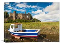 Laugharne Castle and a Fishing Boat. , Canvas Print