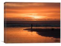 Fisherman and a Glorious Sunset at Newgale., Canvas Print