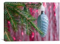 Christmas decorations on the branch. , Canvas Print