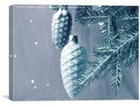 New year Christmas toys on the branches. Vintage, Canvas Print