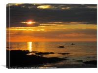 Ocean Sunset with Paddle Boarder      , Canvas Print