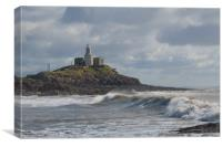Mumbles lighthouse with wave., Canvas Print