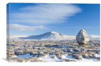 Twistleton Scar, winter with eratic in foreground, Canvas Print