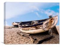 Old Derelict wooden longshore fishing boats Aldbu, Canvas Print