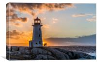 Peggys Point lighthouse sunset, Canvas Print