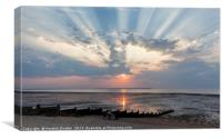 Crepuscular Rays over Whitstable Beach, Canvas Print