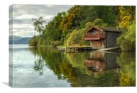 Pooley Bridge Boat House on Ullwater, Canvas Print