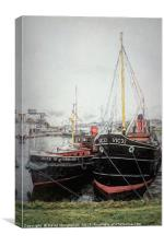 Puffer and Tug at Crinan Canal                  , Canvas Print